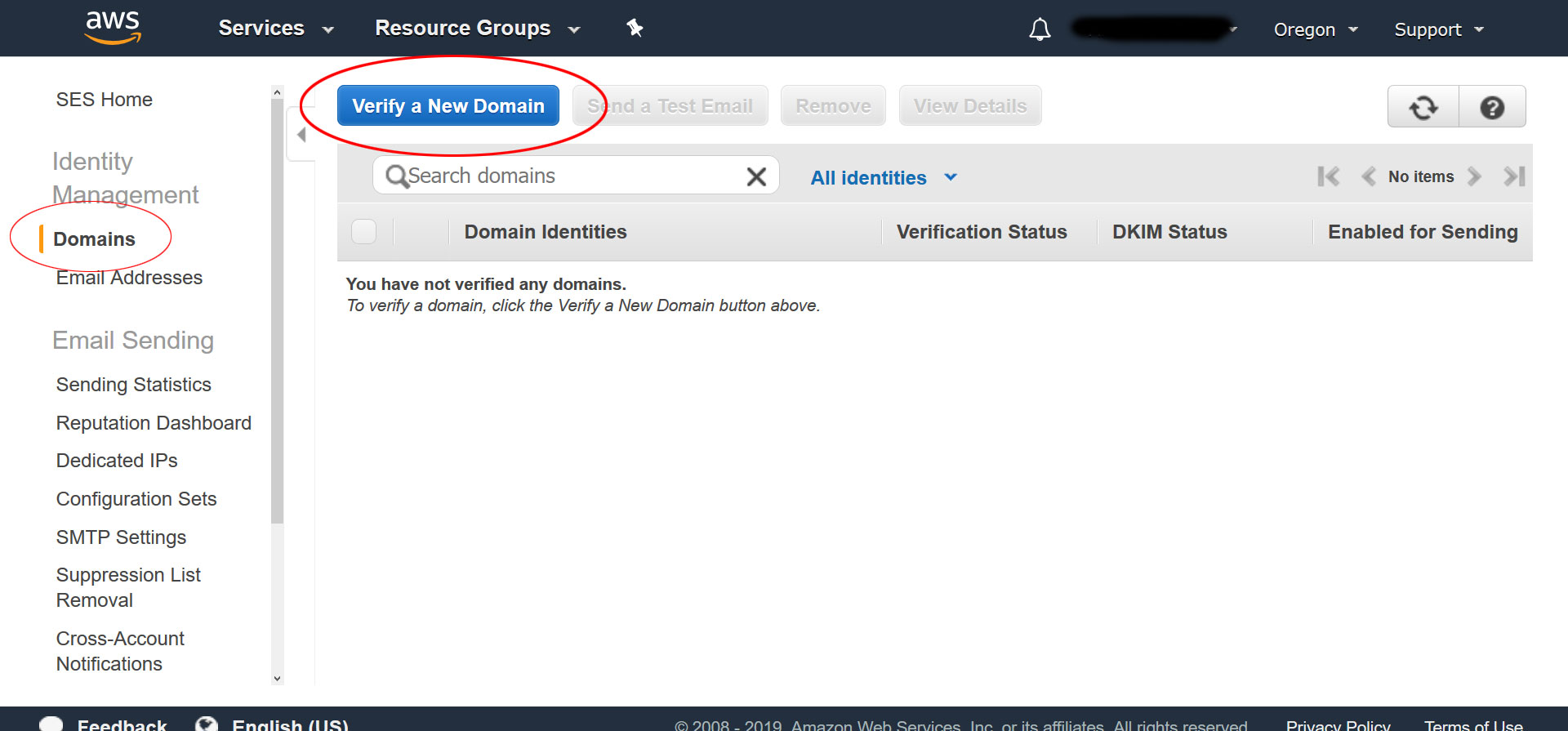 verify domain in amazon ses