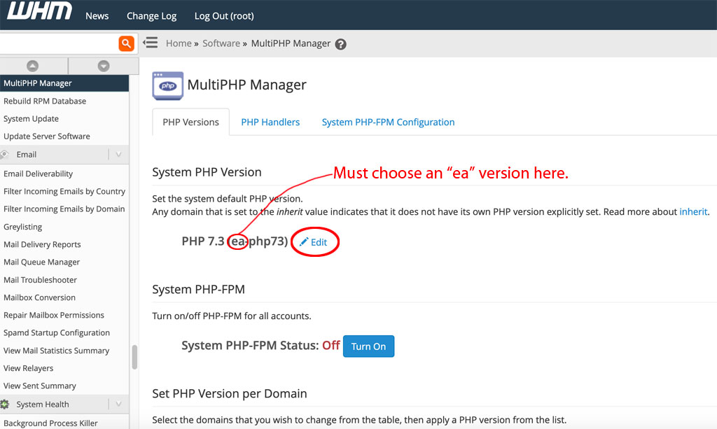 ea-php cpanel php version